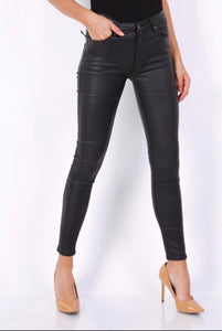 Black Pu Leather Look Jeans