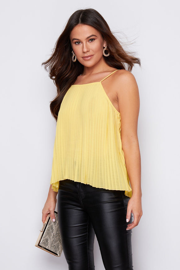 Jenna Pleated Cami Top Lemon