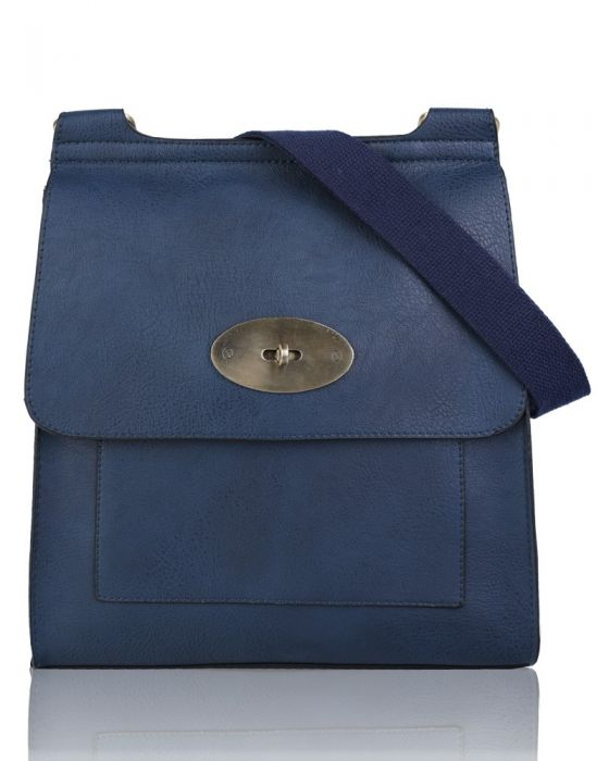 Navy Flap Over Messenger Bag With Metal Clasp