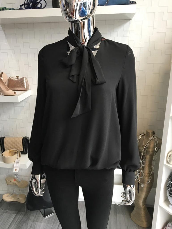 Black Pussy Bow Blouse