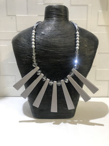 Silver Bar Statement Necklace