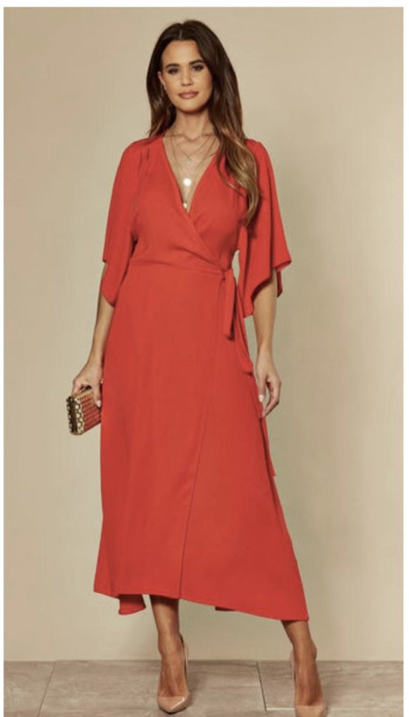 Red Midi Wrap Dress