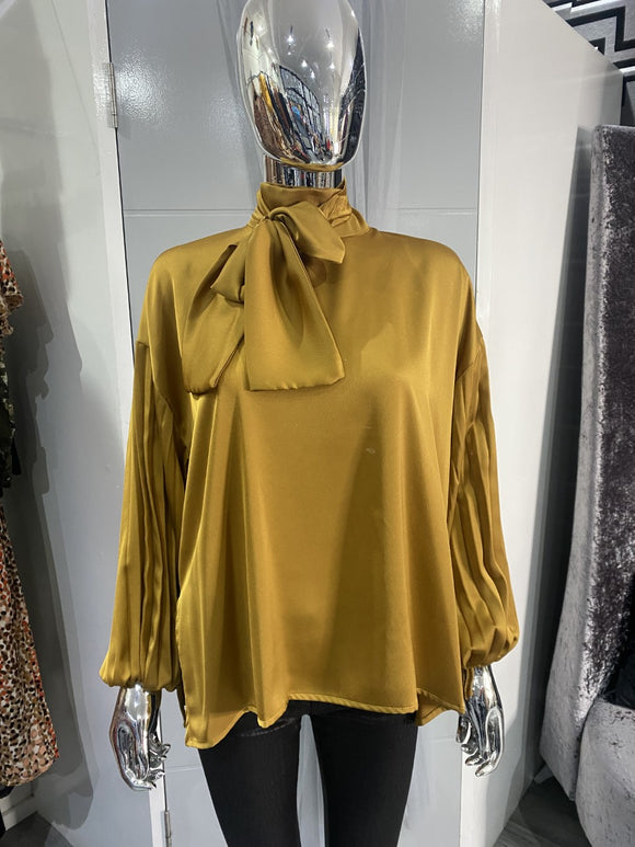 Mustard High Neck Blouse
