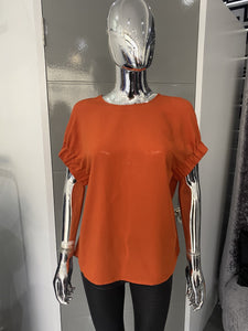 Burnt Orange Blouse with elasicated Sleeve