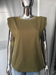 Khaki Green Padded Shoulder Tee