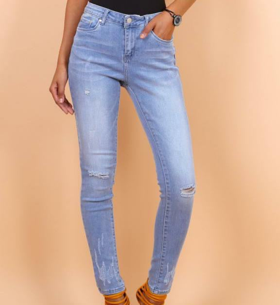Ripped Denim Skinny Jeans