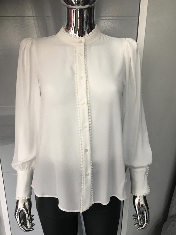 White Granda Blouse with large cuffs