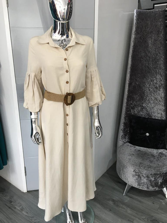 Beige Linen Mix Shirt Dress