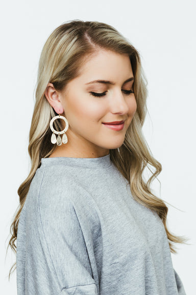 Textured Circle Teardrop Earrings - Gold