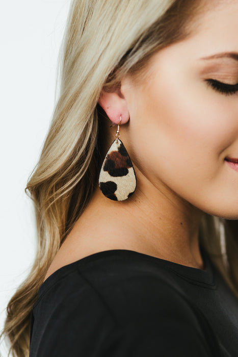 Cowhide Teardrop Earrings - Leopard