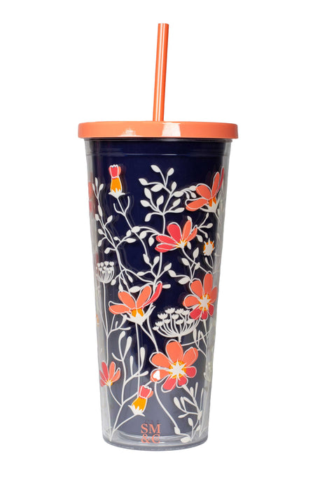 Tumbler with Straw, Floral Vines