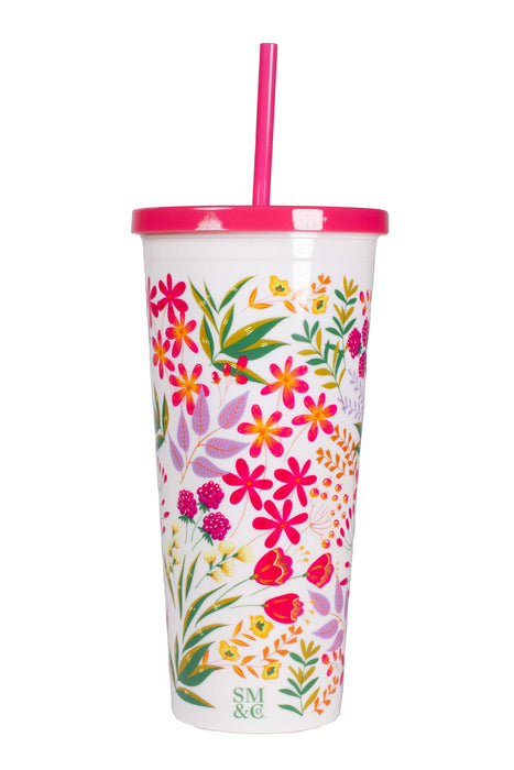 Tumbler with Straw, Wildflowers