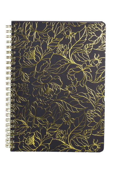 Mini Notebook, Floral Gold