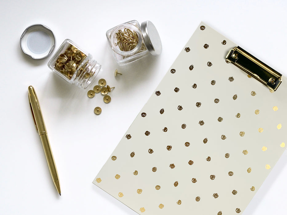 Clipboard, Scribble Gold Dots