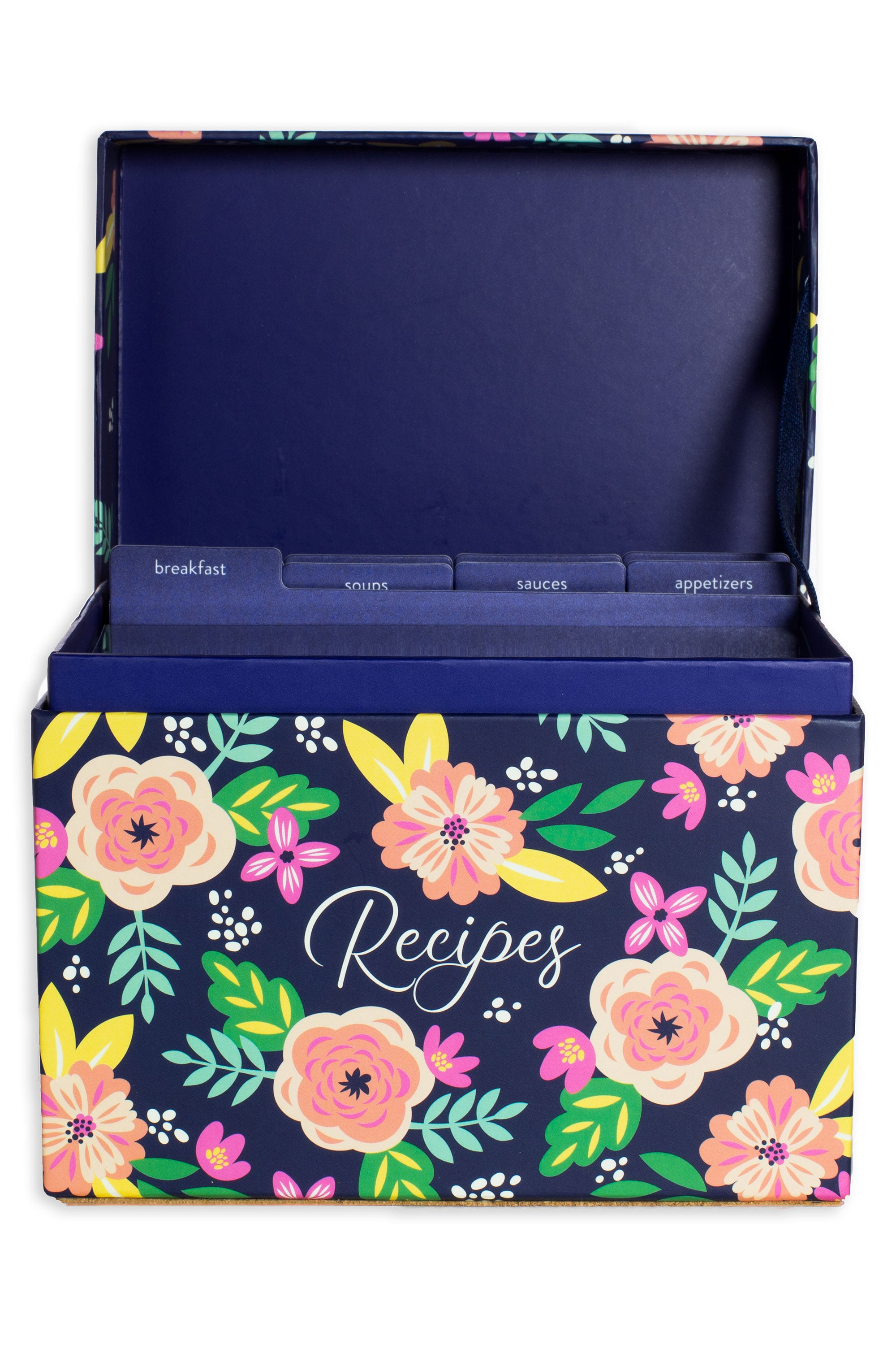 Navy Floral Recipe Box