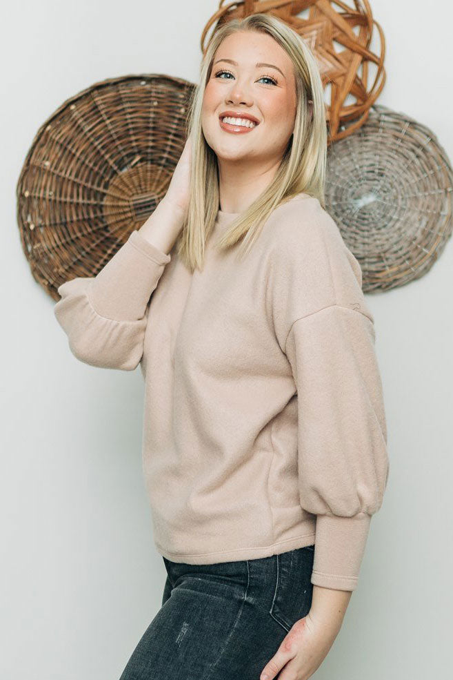 All The Feels Knit Top - Taupe