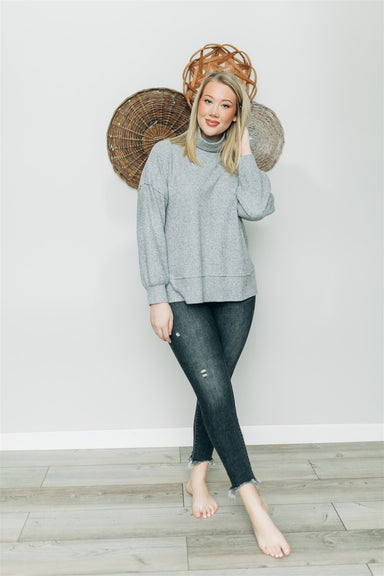 Talk About It Knit Top - H. Grey