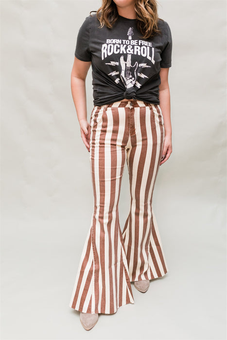 Baby It's You Bell Bottom Jeans - Camel & Ivory