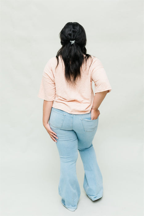 Explore More Tee - Peach Chambray