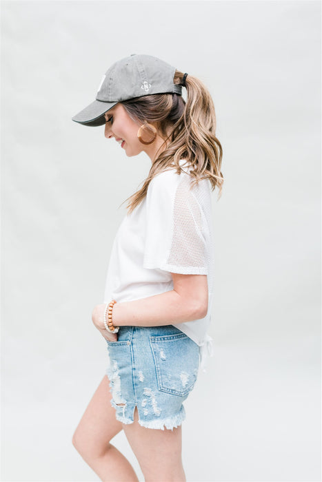 Don't Look Back Crop Top - White