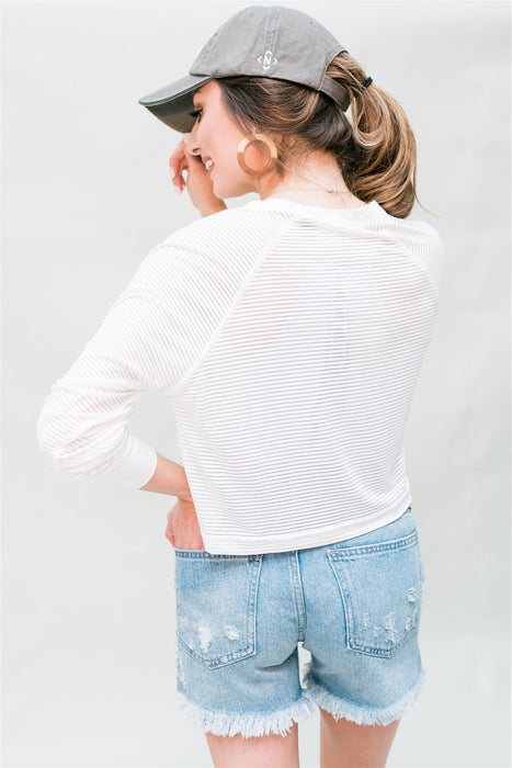 Inhale Exhale Cropped Shirt - White
