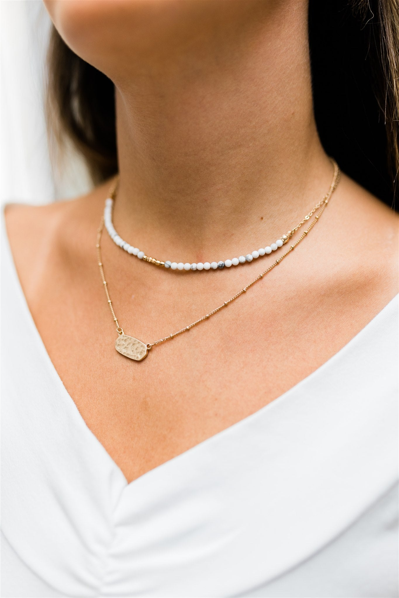 Long Story Short Choker - White & Worn Gold