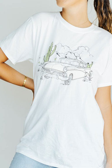 Vintage Car Graphic Tee - Ivory