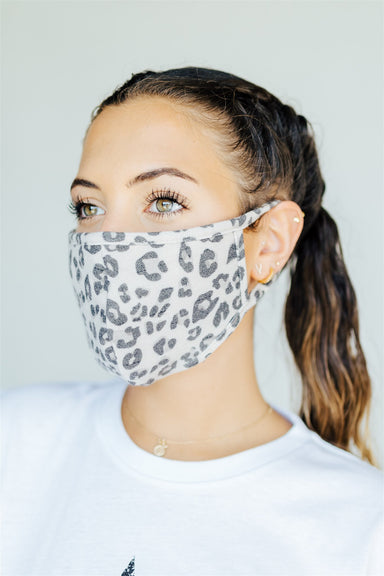 Face Mask - Grey Leopard