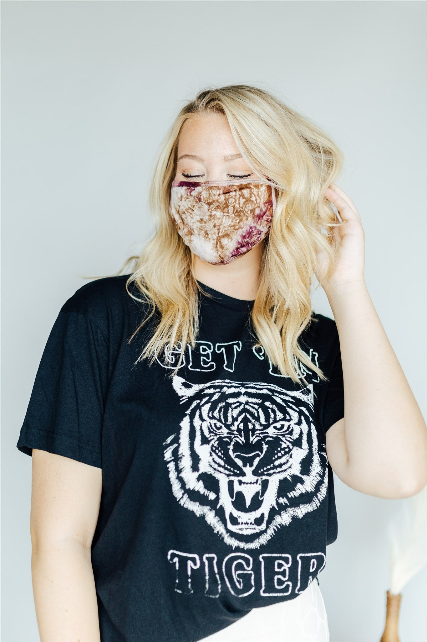 Face Mask - Wine & Brown Tie Dye