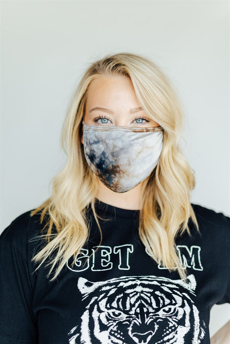 Face Mask - Navy & Brown Tie Dye
