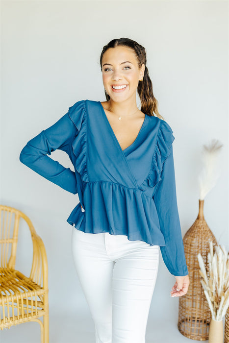 Work For It Blouse - Blue