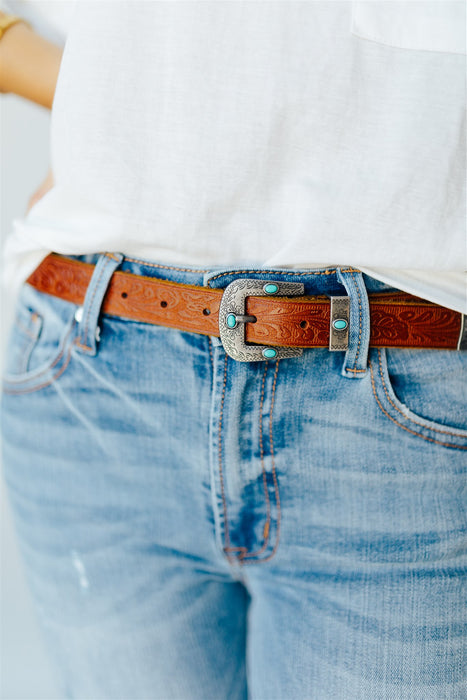 Western Embellished Belt - Tan