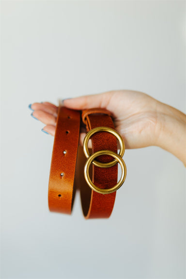 Belt w Gold Circle Closure - Tan