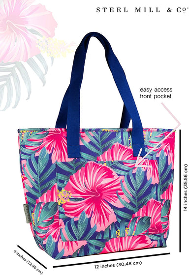 Hybiscus Floral Pink and Blue Beach Cooler Insulated Tote Bag
