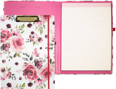 Rose Print Floral Clipboard Folio with Legal Notepad