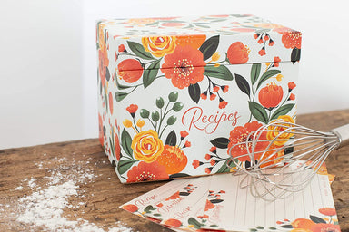 Citrus Floral Recipe Organizer Box with Cards
