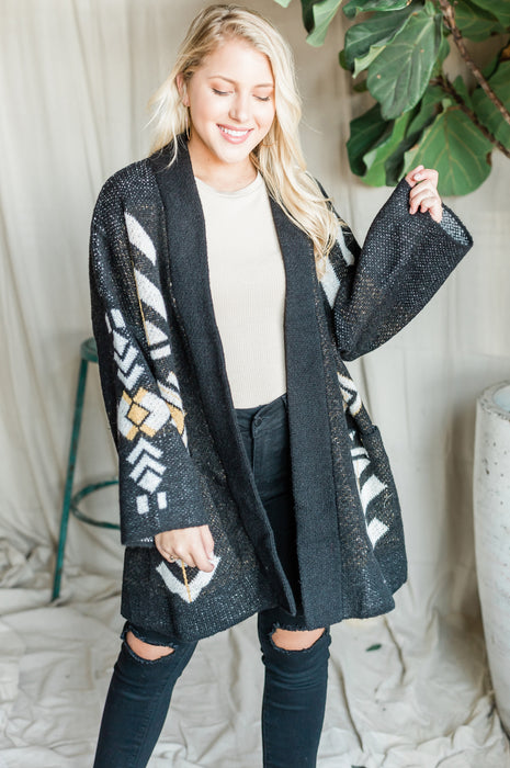 Hang In There Cardigan - Aztec