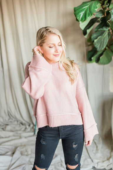 Burst Your Bubble Sweater - Dusty Pink
