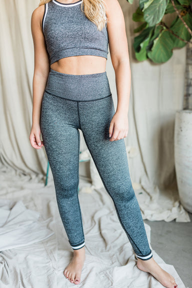 Striped Cuff Full Leggings - Grey