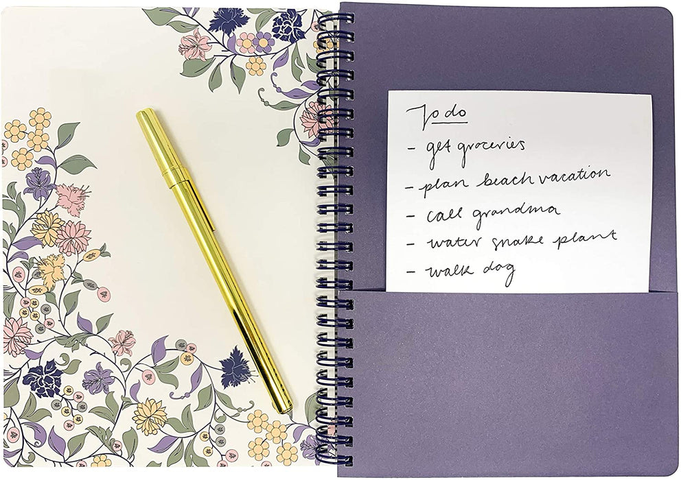 Lilac and Purple Floral Hard Cover 160 Page Lined Notebook