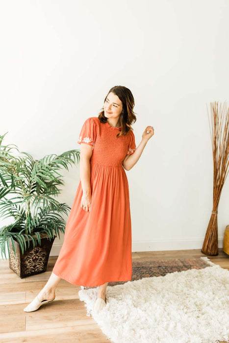 Sunrise To Sunset Midi Dress - Rust