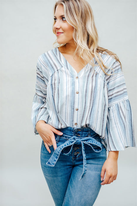 Seaside Stripe Top - Light Blue