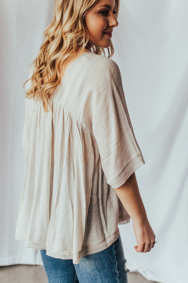 On The Go Flow Top - Taupe