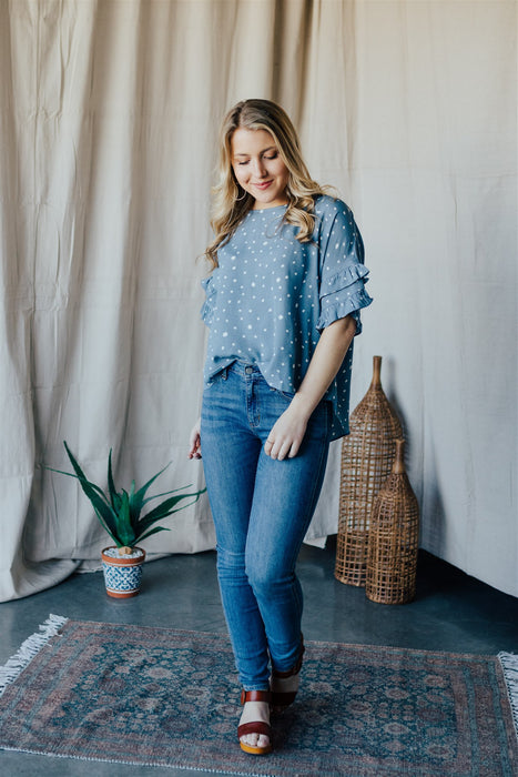 The Lucky One Top - Vintage Denim