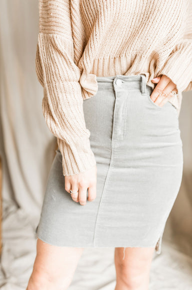 On Thin Ice Midi Skirt - French Grey