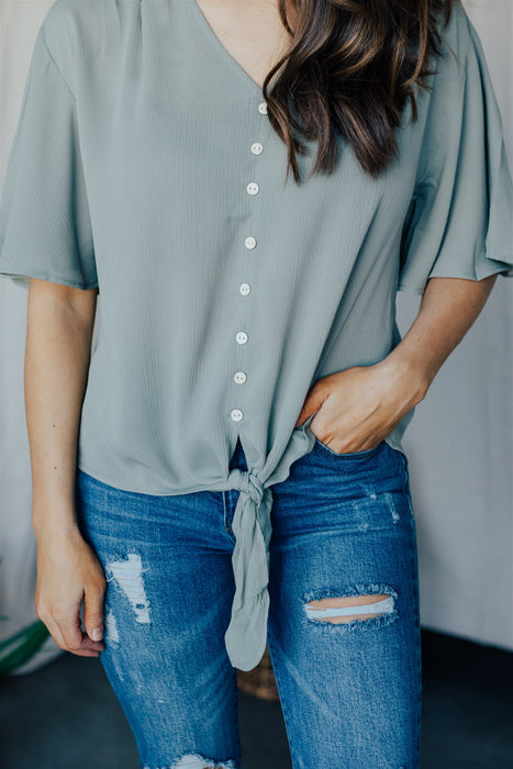 See The Good Button Down Top - Sage
