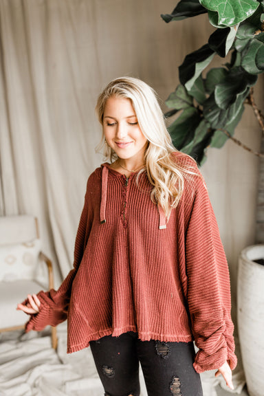 Harvest Hooded Sweater - Burgundy