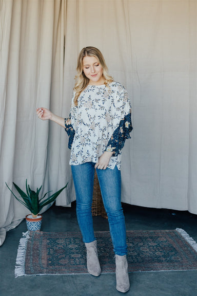 Better with Flowers Top - Ivory & Navy