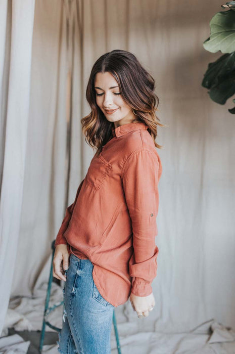 The Sunday Button Up Shirt - Rust
