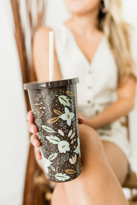 Tumbler with Straw, Star Floral